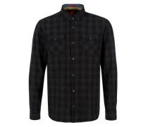 Slim: Kariertes Button-Down-Hemd kobaltblau