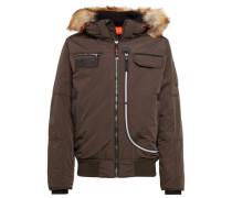 Jacket Jacke mit Kapuze mit Fake-Fur braun