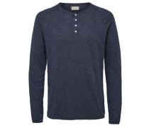 Split-Neck T-Shirt mit langen Ärmeln marine