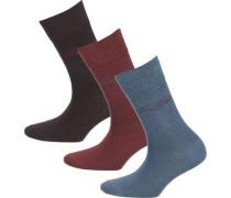 3 Paar Socken blau / braun / blutrot