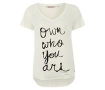 T-Shirt aus Material-Mix weiß