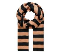 Schal mit schmalen Blockstreifen apricot / schwarz