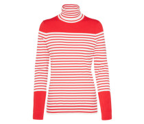 Rollkragenpullover 'ivy Stp' rot / weiß
