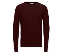 Pullover Eleganter Seidenmix-V-Ausschnitt dunkelrot