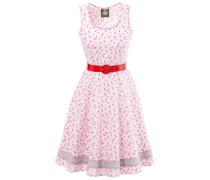 Trachtenkleid mit dezentem Rosendruck rot / weiß