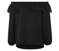 Schulterfreie Bluse mit Rüschenbesatz schwarz
