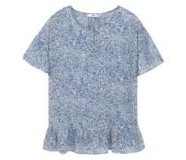 Bluse mit Blumenmuster blau