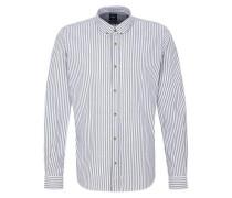 Modern Fit: Button-Down-Hemd taubenblau / weiß