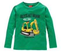 Langarmshirt mit Schaufelbaggermotiv gelb / grün / schwarz