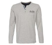 Basic Shirt 'melange henley' grau