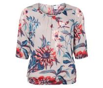 Blumen Bluse grau / mischfarben / rot