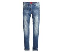 Skinny Suri: Destroyed Stretch-Jeans blau
