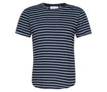 T-Shirt im Streifen-Look 'Alem' blau / schwarz