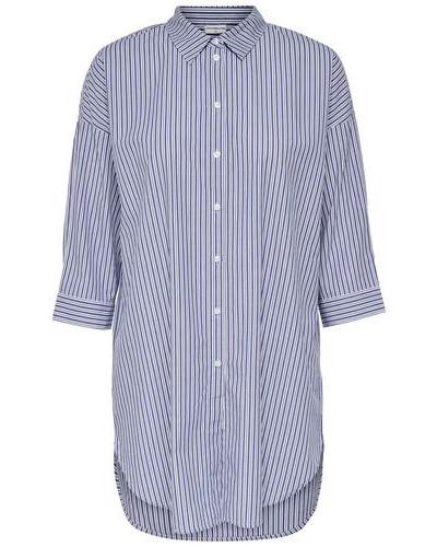 Lockeres Hemd mit 3/4 Ärmeln himmelblau / weiß