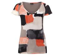 Double Layer-Blusenshirt grau / rostrot / schwarz / weiß