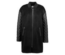 Oversized Mantel mit Details in Lederoptik schwarz