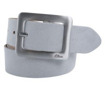 Ledergürtel Matt-Glanz-Schließe grau