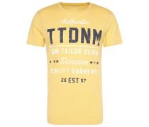T-Shirt mit Schrift-Print gelb