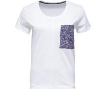 T-Shirt 'carly Round-Nk TOP SS' himmelblau / rot / weiß