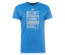 T-Shirt 'Sabbelt' dunkelblau / weiß