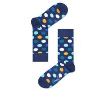 Socke 'big Dot' blau / mandarine / weiß