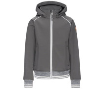 Bomber-Softshell-Jacke 'nitalfa' grau / graumeliert / weiß