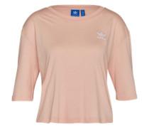 Kurzes T-Shirt mit Logo-Stickerei pink