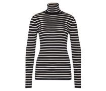 Streifen-Pullover aus Wolle blau / weiß