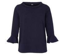 Jacquard-Shirt mit Volantärmeln ultramarinblau