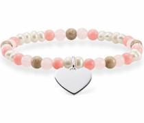 Armband 'Rosa Weiss Herz Lba0111-053-7-L' hellbraun / rosa / rosé / silber / perlweiß