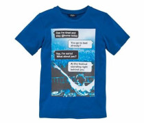 T-Shirt royalblau / hellblau / naturweiß