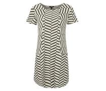 Kleid mit geometrischem Dessin mischfarben / weiß