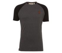 T-Shirt 'Dachrinne' hellgrau / schwarz