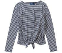 Langarmshirt mit Knoten für Mädchen blau / weiß