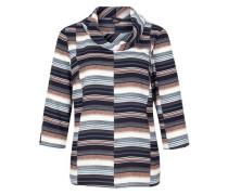 Gemusterte Bluse mit Turtleneck hellbraun / grau / weiß