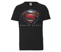 T-Shirt 'Superman - Logo - Man Of Steel' schwarz