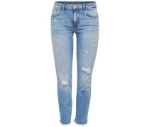 Slim Fit Jeans 'Sui ankle destroyed' blue denim