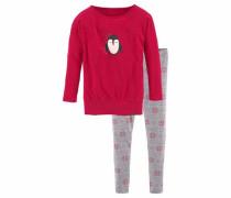 Langer Pyjama aus reiner Baumwolle grau / rot
