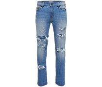 Slim Fit Jeans Loom destroyed blue denim