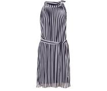 Kurzes Plissée-Kleid aus Chiffon nachtblau / weiß