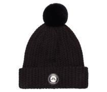 Fell-Wollmix-Mütze schwarz