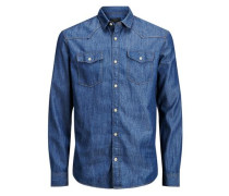 Denim-Slim-Fit-Langarmhemd blau