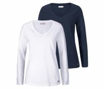 Langarmshirt blau / weiß