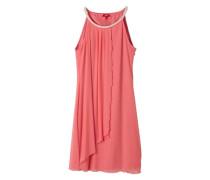Mesh-Kleid mit Schmucksteinbesatz rot