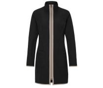 Paspelierter Mantel taupe / schwarz