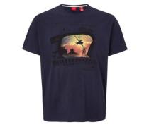 T-Shirt mit abstraktem Print blau