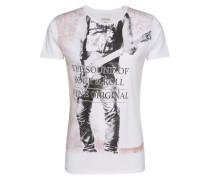Tshirt 'Print tee biker S/s' dunkelorange / schwarz / weiß