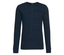 Shirt 'Longsleeve grandad tee in nep jersey quality' dunkelblau