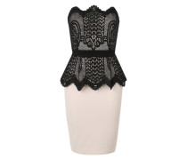 Kleid mit Schößchen nude / schwarz
