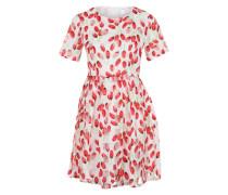 Kurzarm-Kleid mit Blumenprint rot / weiß